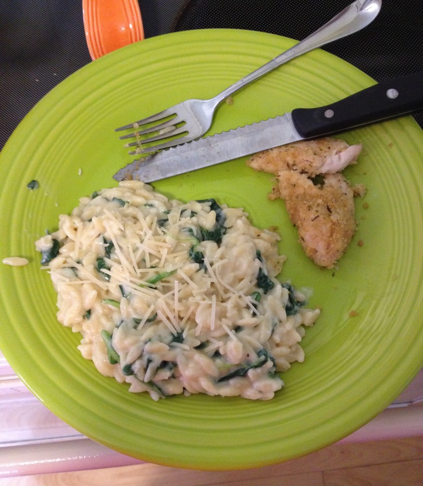 Lightened-up Spinach Parmesan Orzo! (1/6)